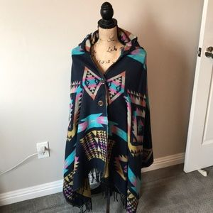 Sweaters - Southwest poncho with hood
